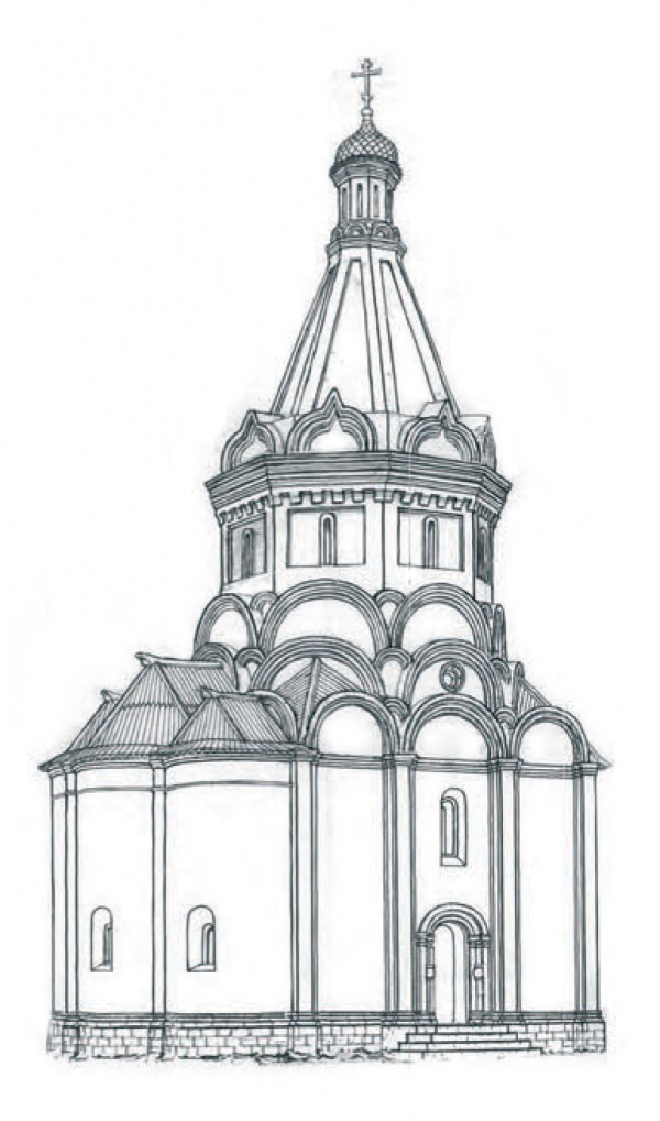 The Church of the Beheading of John the Baptist with the northern Nikolsky side-altar and bell tower, against the background of the Novodevichy Convent. Estimated appearance of the XVI century from the side of the altar and the north facade. Graphic recon Copyright: © Vyacheslav Ryabov