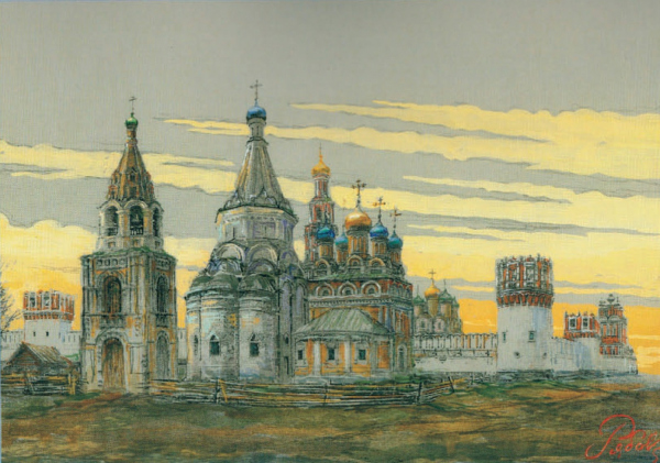 The Church of the Beheading of John the Baptist with the northern Nikolsky side-altar and bell tower, against the background of the Novodevichy Convent. Estimated appearance of the XVII – XVIII centuries from the side of the altar. Graphic reconstruction  Copyright: © Vyacheslav Ryabov