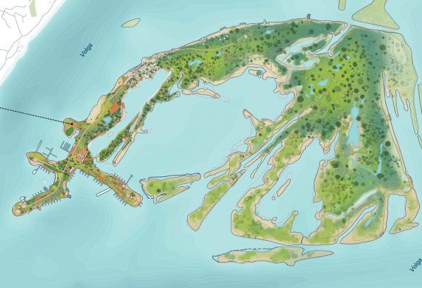 Конкурсная концепция развития центральной части Саратова. План Зеленого острова Citymakers + Arteza + Megabudka + Диалектика + Студия транспортного проектирования + Факультет биологии Саратовского государственного университета + Эталон-проект