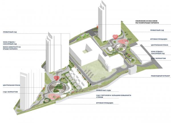 Функциональное зонирование. Городские резиденции «Spires» © GAFA Architects