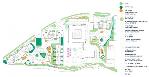 Схема озеленения. Городские резиденции «Spires» © GAFA Architects