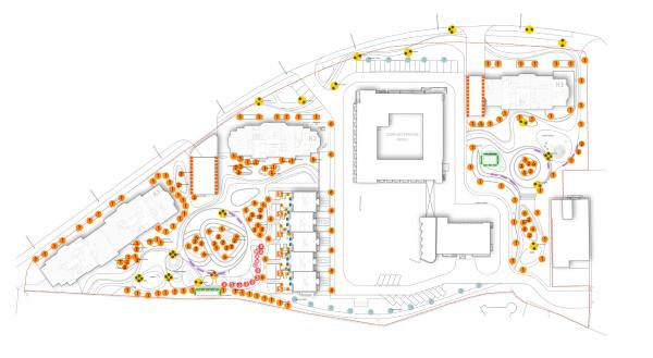 Схема декоративного освещения. Городские резиденции «Spires» © GAFA Architects