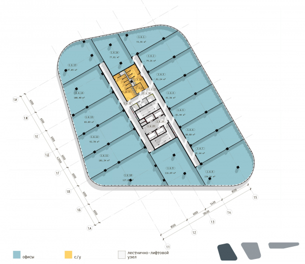 The Beetle office center. Phase 5. Plan of the 6th floor, Building 1 Copyright: © KPLN