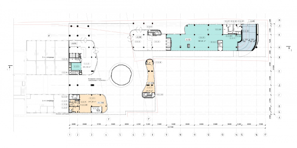 The Beetle office center. Phase 3. Plan of the 1st floor at 0,000 elevation Copyright: © KPLN