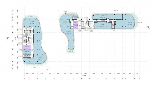 The Beetle office center. Phase 3. Plan of the 12th floor at +40,500 elevation Copyright: © KPLN