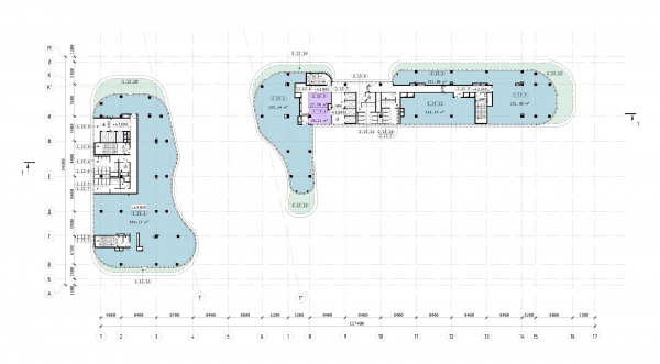 The Beetle office center. Phase 3. Plan of the 13th floor at +43,800 elevation Copyright: © KPLN
