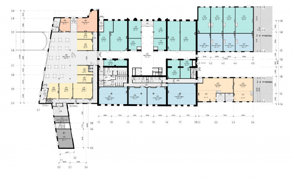 The Beetle office center. Stage 2. Plan of the 2nd floor at 0.000 elevation Copyright: © KPLN