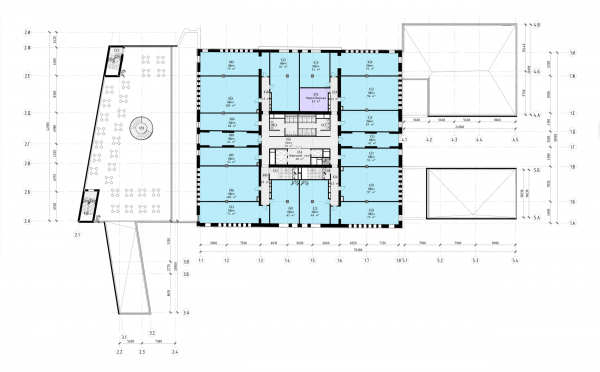 The Beetle office center. Stage 2. Plan of the 3rd floor at +7.050 elevation Copyright: © KPLN