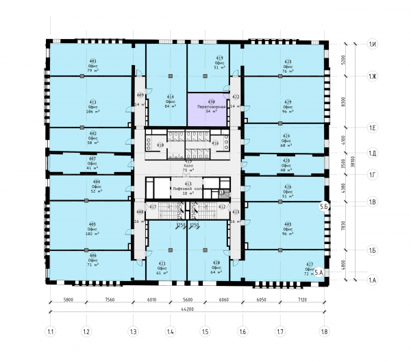 The Beetle office center. Stage 2. Plan of the 4th floor at +10.200 elevation Copyright: © KPLN