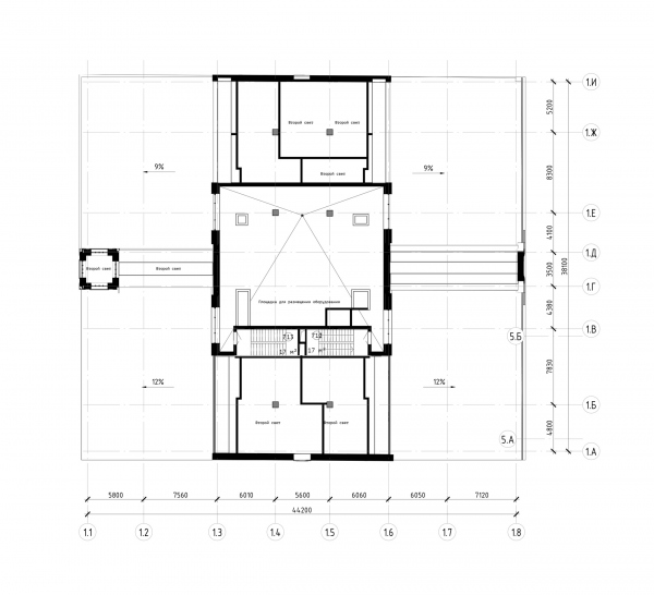 The Beetle office center. Stage 2. Plan of the site for placing the equipment at +19.650 elevation Copyright: © KPLN