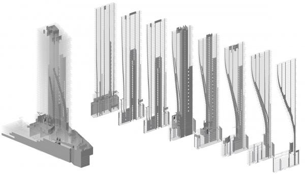 Жилой небоскреб Vancouver House Bjarke Ingels Group. Изображение © Glotman Simpson Consulting Engineers