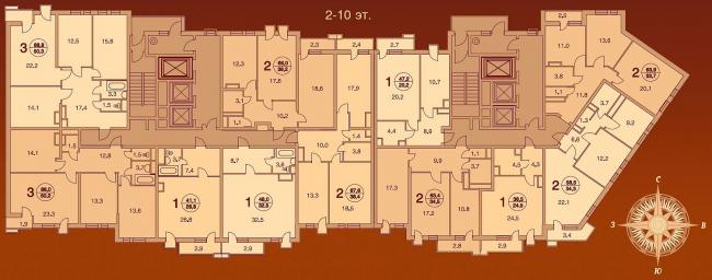 Жилой дом «Шоколад» на Алтуфьевском шоссе. 2-10 эт.