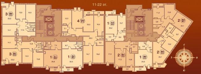 Жилой дом «Шоколад» на Алтуфьевском шоссе. 11-12 эт.