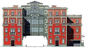 Бизнес-парк на Ордынке, входной корпус. Первоначальный проект, 1997 © Архитектурная мастерская Павла Андреева
