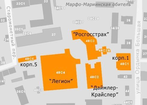 Бизнес-парк на Ордынке, 40. Схема расположения корпусов © Архитектурная мастерская Павла Андреева