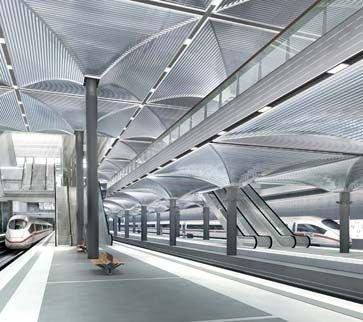 Главный вокзал Берлина. Подземный перрон. Проект gmp