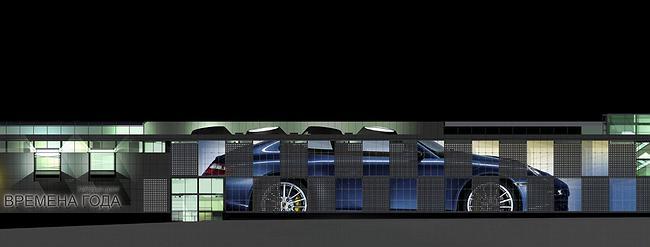 фрагемент фасада с вариантом рекламы