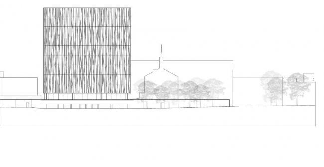 Новая библиотека Абердинского университета. Западный фасад. Изображение предоставлено schmidt hammer lassen architects