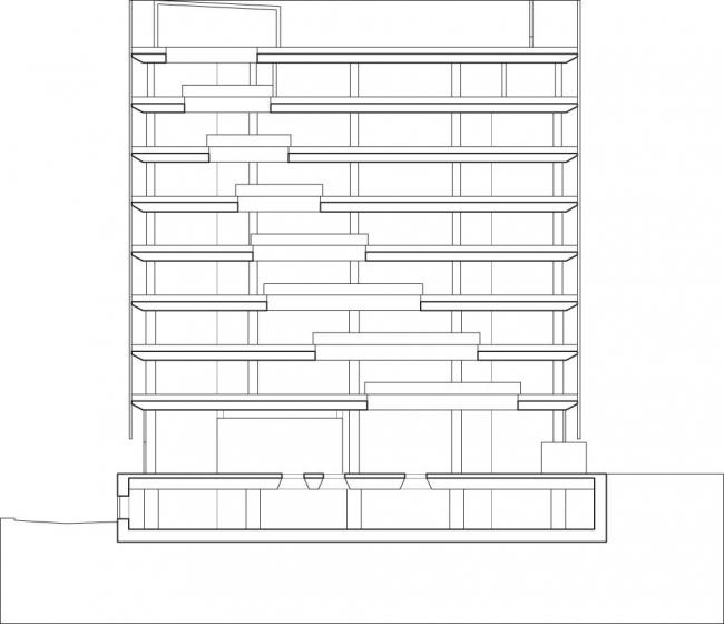 Новая библиотека Абердинского университета. Разрез по линии bb. Изображение предоставлено schmidt hammer lassen architects