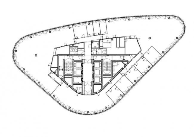 Штаб-квартира Немецкого автомобильного клуба (ADAC). План 11-го этажа © Sauerbruch Hutton