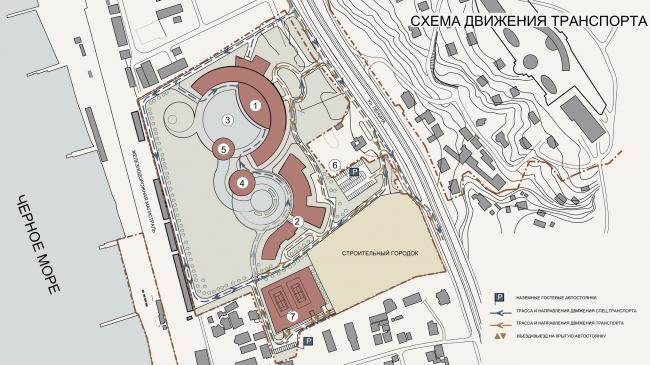 Пансионат «Южный» в Сочи. Генеральный план © ПТАМ Виссарионова