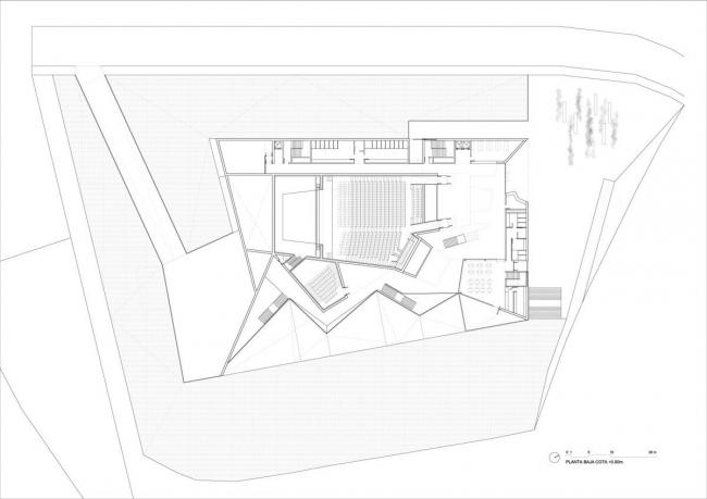 Городской концертный зал Теулады. План по уровню 0 © Francisco Mangado