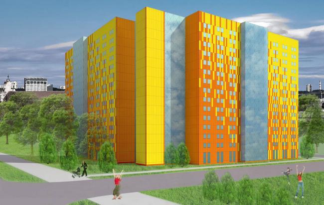 Архитектурный проект студенческого общежития вместимостью 1200-1500 мест. «Гинзбург Архитектс» (г. Москва)