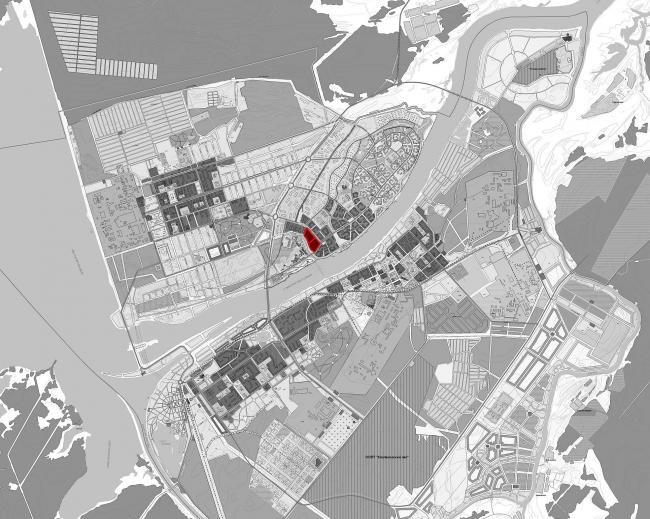 Проект жилой застройки на территории Российского центра программирования в Дубне. Ситуационный план © ПАНАКОМ