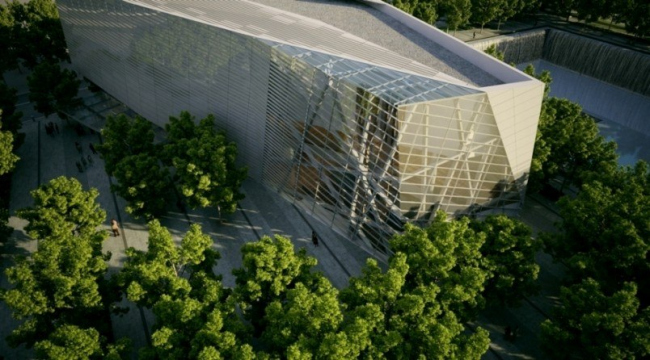 Входной павильон мемориального музея 11 сентября в комплексе ВТЦ в Нью-Йорке. Проект © Squared Design Lab & Snøhetta. Фото предоставлено Музеем архитектуры