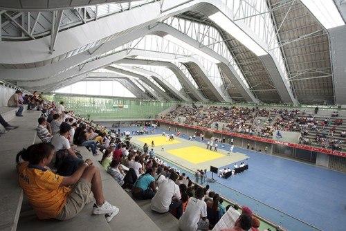 Спорткомплекс для Южно-Американских игр 2010 года. Интерьер. Медельин, Колумбия © Sergio Gomez