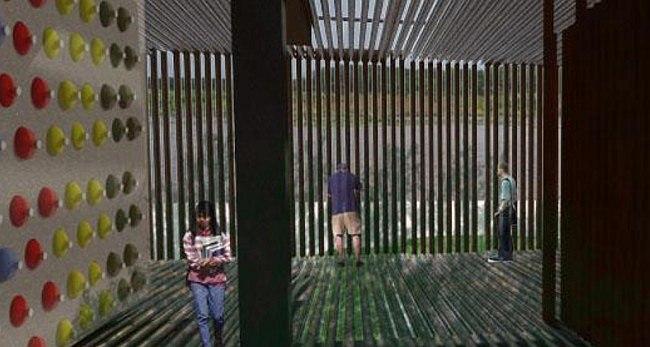 I место в номинации «Зеленые технологии», «Студенты»: Gracia Romero (Венесуэла), проект образовательного центра в лагуне Sinamaica. Слева – рельефная стена из разноцветных пластиковых бутылок, залитых в бетон.