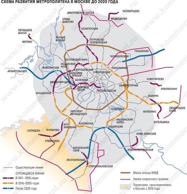 квартир Москве новые линии метро до 2020 года линия