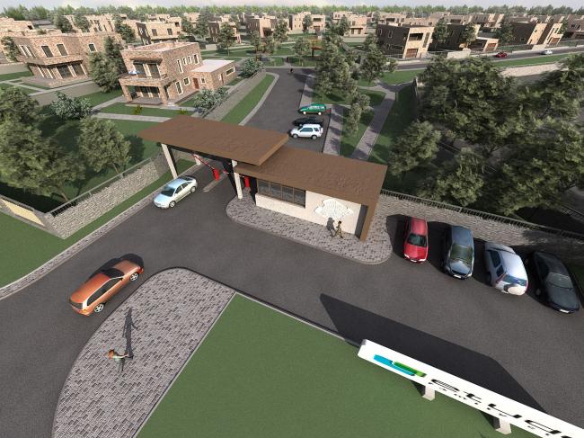 Коттеджный поселок «ETUDE FAMILY CLUB». Въездная зона поселка с главными воротами и парком