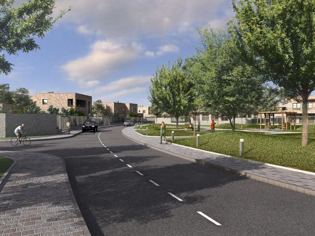 Парк и улица поселка с домами в первом варианте - с плоскими кровлями