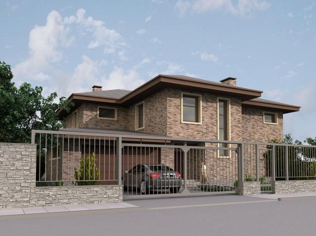 Жилой дом площадью 300 кв. м с пристроенным гаражом. Уличный фасад