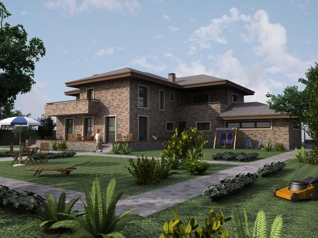 Садовый фасад дома общей площадью 510 кв.м с пристроенным гаражом