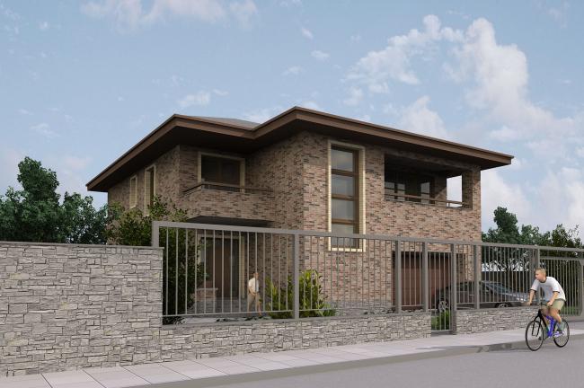 Жилой дом площадью 240 кв. м со встроенным гаражом. Уличный фасад