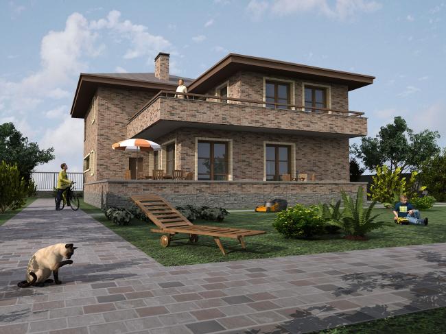 Жилой дом площадью 390 кв. м. Садовый фасад