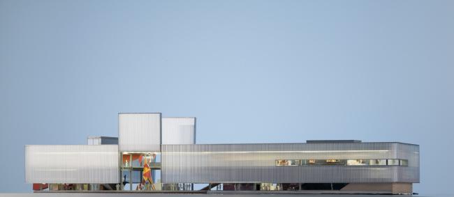 """""""Garage"""" Museum in Gorky Park. Model. © OMA, FORM Bureau, Buromoscow, Werner Sobek"""