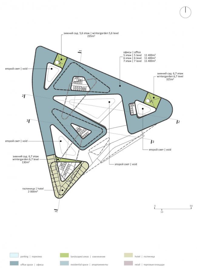 М-Сити. План 5-го, 6-го и 7-го этажей © ТПО «Резерв» & MVSA