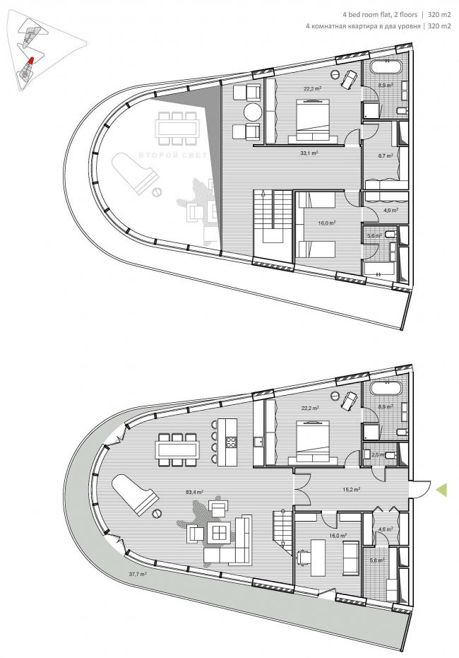 М-Сити. План апартаментов © ТПО «Резерв» & MVSA