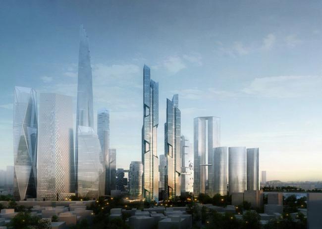 Центральный деловой район Ёнсангу. Вид с индивидуальными проектами башен. 2012
