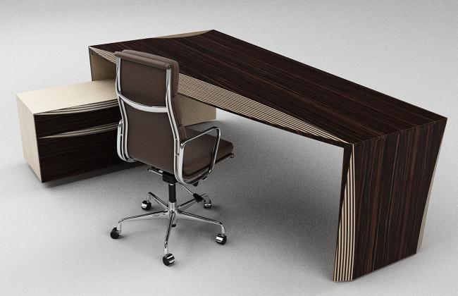 Стол кабинета ABD'Vise может быть выполнен как в темном, так и в светлом дереве.