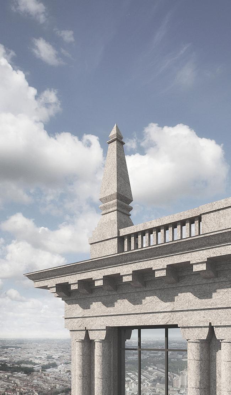 Венчающий карниз и обелиск на парапете крыши