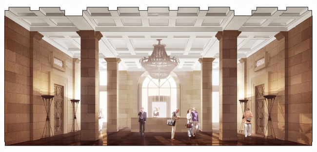 """Lobby with the reception desk. The building at 5, Pobedy Street. """"Eugene Gerasimov and Partners"""""""