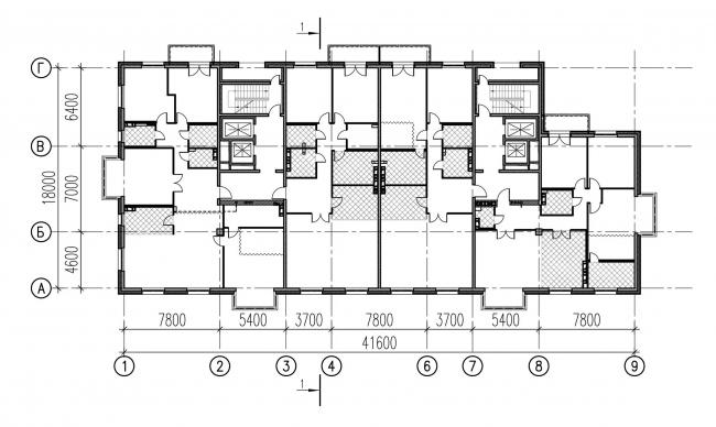 План типового этажа.  Дом на ул. Победы, 5 © Евгений Герасимов и партнеры