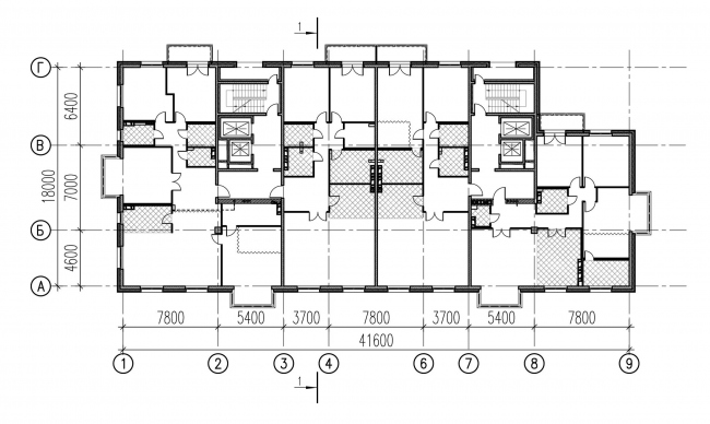 """Plan of the typical floor. The building at 5, Pobedy Street. """"Eugene Gerasimov and Partners"""""""