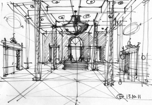 """Sketch of the entrance lobby. The building at 5, Pobedy Street. """"Eugene Gerasimov and Partners"""""""