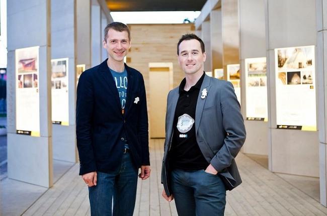 Константин Гудков и Александр Дуднев на стенде АРХИWOOD  2012 в Москве. Фото: Анна Пешкова