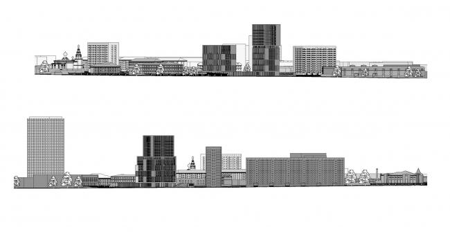 Предпроектное предложение строительства жилого комплекса на Новоалексеевской улице в Москве. Фасады © Сергей Скуратов ARCHITECTS